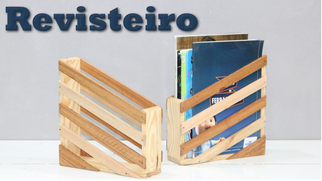 Revisteiro organizador – Reciclagem de madeira