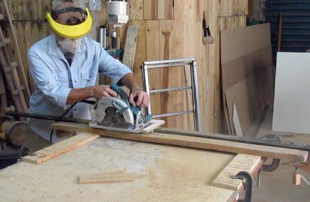 Aplainar madeira com serra circular manual